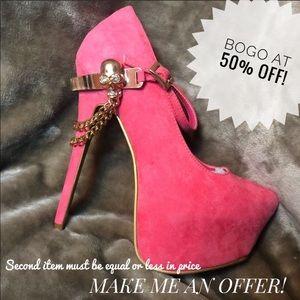 Skull Rhinestone Mary Jane Pink Heel